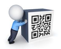 3d klein persoon en symbool van QR-code. Royalty-vrije Stock Foto's