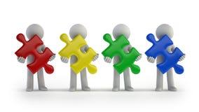 3d kleine Leute - bunte Puzzlespielstücke Lizenzfreies Stockbild