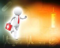 3d kleine Person - Doktor mit dem Erste-Hilfeset, das bei einem Aufruf läuft stock abbildung