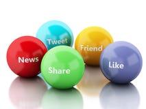 3d kleurenbellen met Sociaal media en voorzien van een netwerkconcept Royalty-vrije Stock Fotografie