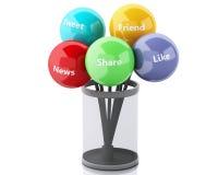 3d kleurenbellen met Sociaal media en voorzien van een netwerkconcept Royalty-vrije Stock Afbeelding