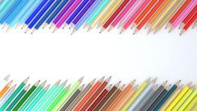 3d kleurenpotlood op witte achtergrond Stock Afbeeldingen