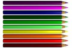 (3D) kleurpotloden Stock Foto