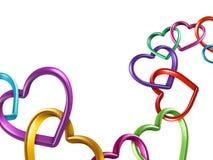 3d kleurrijke harten verbonden samen in ketting Stock Foto