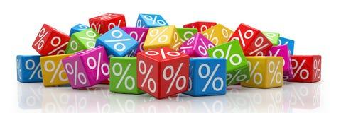 3d - kleurrijke percentenkubussen - Stock Afbeeldingen