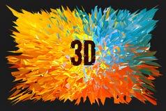 3D kleurrijke veelhoekige vorm explodeert op donker BG royalty-vrije illustratie