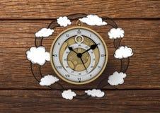 3D Klok met de tekeningen van Wolkenillustrion tegen hout Royalty-vrije Stock Foto
