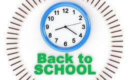 3d klok met terug naar schooltekst en potloden Royalty-vrije Stock Fotografie
