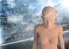 3D klottrar den orange kvinnlign AI mot väggen med matematik Arkivbilder