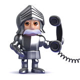 3d Knight in armour answers the phone Royalty Free Stock Photos