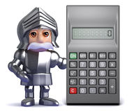 3d Knight in armour with calculator Stock Photos