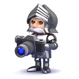 3d Knight in armour taking photos with a camera Royalty Free Stock Photography