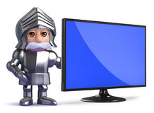 3d Knight has a new widescreen monitor. 3d render of a knight next to a flatscreen television Stock Photo