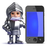 3d Knight next to smartphone Stock Photos