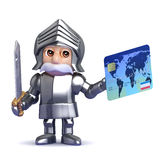 3d Knight pays with plastic Royalty Free Stock Photo
