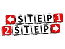 3D Knopf des Schritt-1 des Schritt-2 klicken hier Block-Text Stockfotos