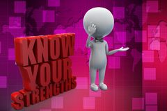 3d know your Strengths illustration Royalty Free Stock Image