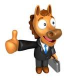 3D Końska maskotka prawa ręka najlepszy gest Fotografia Royalty Free