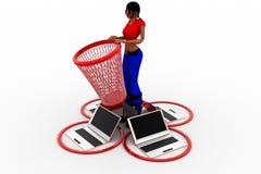 3d kobiet laptopu kosza ilustracja Obraz Royalty Free