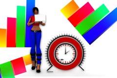 3d kobiet laptopu Wifi przeniesienia ilustracja Fotografia Royalty Free