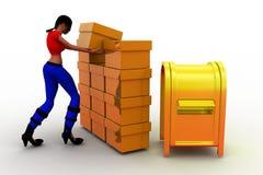 3d kobiet masowy ładunek - wysyła pudełkowatego pojęcie Zdjęcie Stock