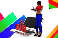 3d kobiet wifi ilustracja Zdjęcie Royalty Free