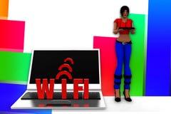 3d kobiet wifi ilustracja Zdjęcia Stock