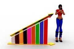 3d kobiet wykres i swój ładunki elektrostatyczni Zdjęcie Royalty Free