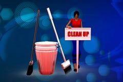 3D kobieta czyści up ilustrację Obraz Stock