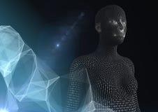 3D kobieta kształtował binarnego kod przeciw ciemnemu tłu z cyfrową chmurą Zdjęcie Stock