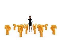 3d kobieta kwestionuje pojęcie Zdjęcie Stock
