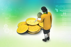 3d kobieta z dolar monetą royalty ilustracja