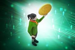 3d kobieta z dolar monetą ilustracja wektor