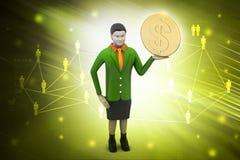3d kobieta z dolar monetą Obrazy Royalty Free