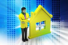 3d kobieta z domem, nieruchomości pojęcie royalty ilustracja