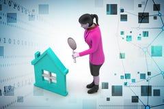 3d kobieta z domem, nieruchomości pojęcie ilustracji