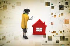 3d kobieta z domem, nieruchomości pojęcie ilustracja wektor