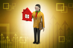 3d kobieta z domem, nieruchomości pojęcie Zdjęcie Stock