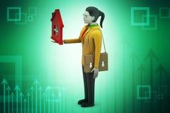 3d kobieta z domem, nieruchomości pojęcie Obraz Stock