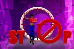 3D kobieta zatrzymuje ilustrację Fotografia Royalty Free