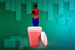 3D kobiety cleaning ilustracja Fotografia Stock