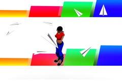 3d kobiety Latają papieru samolotu ilustrację Obrazy Royalty Free