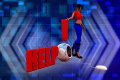 3D kobiety pomocy ilustration Fotografia Stock