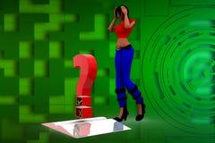 3d kobiety pytania ilustracja Fotografia Stock