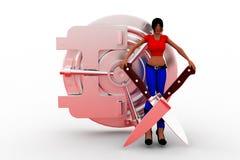 3d kobiety Trzyma noża krzyż I pieniądze szafkę Zdjęcie Stock