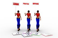 3d kobiety uczą się praktykę ulepszają pojęcie Fotografia Stock