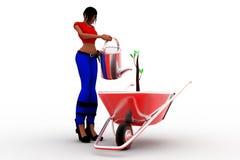 3d kobiety uprawia ogródek rośliny Zdjęcia Royalty Free