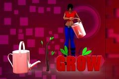3D kobiety wzrostowa drzewna ilustracja Zdjęcia Stock