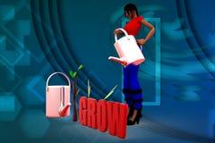 3D kobiety wzrostowa drzewna ilustracja Zdjęcie Royalty Free