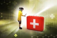 3d kobiety z pierwszej pomocy pudełkiem Fotografia Royalty Free